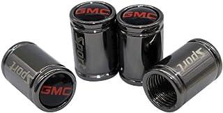 Funsport 4pcs Stainless Steel Sport Car Tire Valve Air Stem Cap Universal Car Logo Stem Cover Car Accessories (fit GMC)