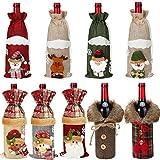 9 Pieces Plaid Drawstring Wine Bottle Covers Burlap Santa Claus Bottle Bags Reindeer Drawstring Bottle Bags Christmas Plaid Wine Bottle Covers with Faux Fur for Xmas Party Decoration