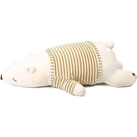 IKASA 抱き枕 プレミアム ねむねむ くま とろけるような肌触り クマ 柔らかい ぬいぐるみ だきまくら クッション すやすや寝る 熊 Lサイズ ホワイト 76x33x23cm
