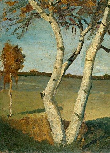 World of Art Global Paula MODERSOHN-Becker Birkenbaum in Einer Landschaft, Detail' 1899. 250 g/m², glänzend, Kunstdruck, A3, Reproduktion