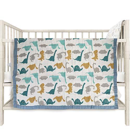 "Baby Muslin Swaddle Blanket, 4-Layer Bamboo Newborn Infant Toddler Summer Blanket Baby Stroller Blanket, Muslin Baby Blanket for Baby Girls Boys - 43"" x 47"" (Blue)"