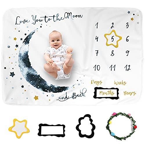 Genfien Manta Mensual De Hito para Bebé Manta Mensual De Bebé Para Fotos con Marco para Recién Nacido Niños Niñas 100 x 120 cm