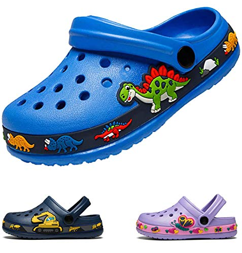 DRECAGE Unisex Kinder Clogs Pantoffeln Dinosaurier Gr.24-30 EU, Eva Gartenclogs Gummi Badeschuhe Hausschuhe für Jungen Mädchen 24 EU Blau