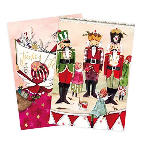 2er Set Glückwunschkarten zu Weihnachten, Nussknacker, Weihnachtsmann, Engel, neutral, Junge, Mädchen, blanko, Karte zu Weihnachten, DIN A6