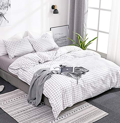 Omela Double Duvet Cover Set Black and White Grid Checkered Pattern Plaid Bedding 1 Duvet Cover + 2 Pillow Cases Ulta Soft Quilt Cover