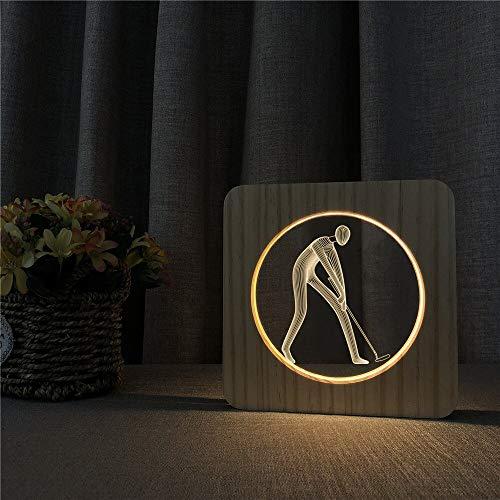 Solo 1 pieza Pole ball player 3D LED acrílico luz nocturna lámpara de mesa interruptor de control lámpara de grabado decoración de la habitación de los niños