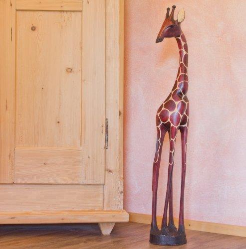 Holzgiraffe Tonga in Verschiedene Größen Handarbeit aus SIMBABWE Afrika Deko sehr hochwertige Holz Giraffe Firgur Holzfigur, 90cm