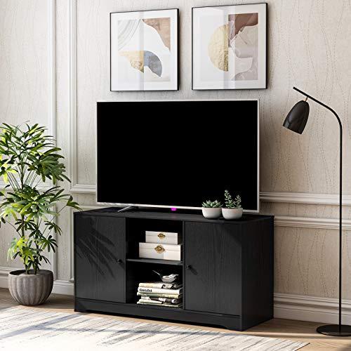 DADEA Fernsehtisch, TV Board, Fernsehschrank, Tv Schrank, Holz Medienständer, TV-Ständer mit offenen Lagerregalen und 2 Lagerschränken, Medienkonsolentisch, 108cm