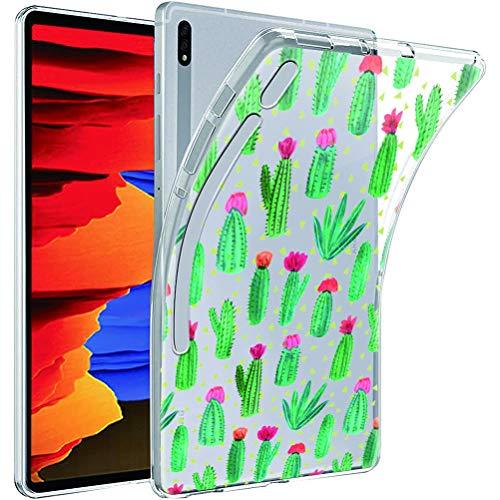 ZhuoFan Funda para Samsung Galaxy Tab S7 Plus, Case Carcasa Silicona Gel TPU Transparente con Dibujos Antigolpes Smart Cover Piel de Protector Ligera Tableta para Samsung Tab S7 Plus, Cactus