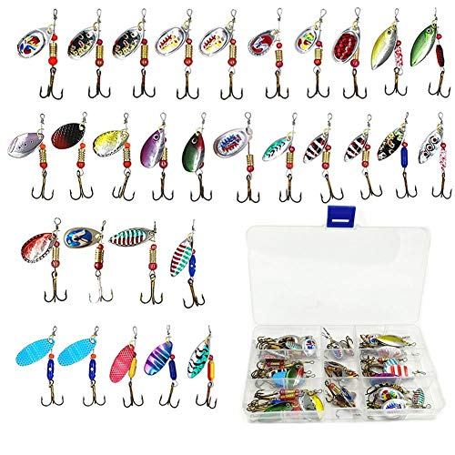 LSHEL Spinner Angelköder Set 30 Stück, Blinker Wobbler Set mit Drillingshaken für Hecht,Zander,Barsch und Forelle