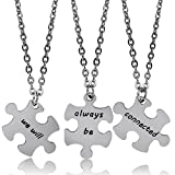 "Bespmosp, Set di 3 portachiavi abbinati con scritte in inglese ""We will"", ""Always be"" e ""Connected"", regali per sorelle e migliori amiche e Acciaio inossidabile, colore: silver, cod. BM0267UK"