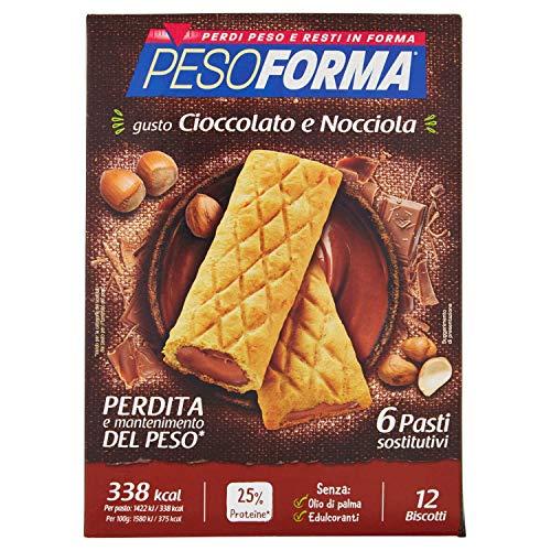 Pesoforma Biscotti Cioccolato e Nocciola -pasto sostitutivo dimagrante - ricco in proteine - 6 pasti - 540 gr