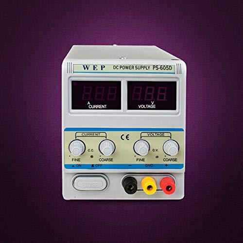 YUNRUX EP605D - Fuente de alimentación para laboratorio (60 V, regulable, con transformador de corriente continua, pantalla digital)