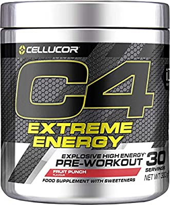 C4 Extreme Energy Pre Workout Powder Fruit Punch | Preworkout Energy Drink Supplement | 300mg Caffeine + Beta Alanine + Creatine Monohydrate | 30 Servings