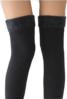 XUMIN, 1 par 60 cm Legging elástico térmico con siesta interior suave Fleece engrosado Calentador de manga de pierna larga Sobre la rodilla Muslo Calcetín Medias Hasta la rodilla Calcetín
