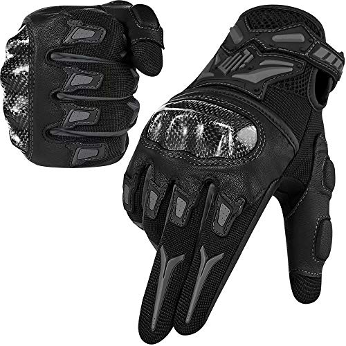 ILM Motorcycle Motocross Cycling Off-Road Dirt Bike Gloves for Men Women Touchscreen Hard Knuckle ATV MTB Guantes (Gray, XL)