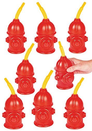 "Firefighter Birthday Party Favors Supplies For Kids - Pack of 8 - Fire Hydrant Cups With Straws Reusable Plastic Fireman Cups 4"" x 5 1/2"" With 8'' Straws, Holds 9 Oz. By 4E's Novelty"