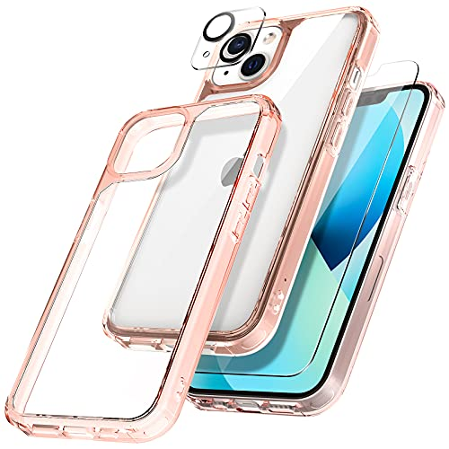 TAURI [3 in 1] Defender Designed for iPhone 13 Case 6.1 Inch, with 2 Pack Tempered Glass Screen Protector + 2 Pack Camera Lens Protector [Military Grade Protection] Shockproof Slim Thin