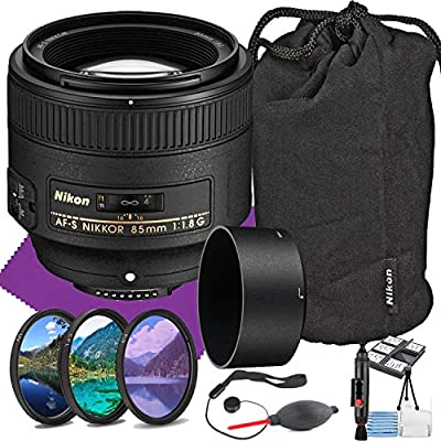 Nikon AF S NIKKOR 85mm f/1.8G Fixed Lens with Auto Focus + Acessory Bundle and Cleaning Kit from MJ   Nikon Intl
