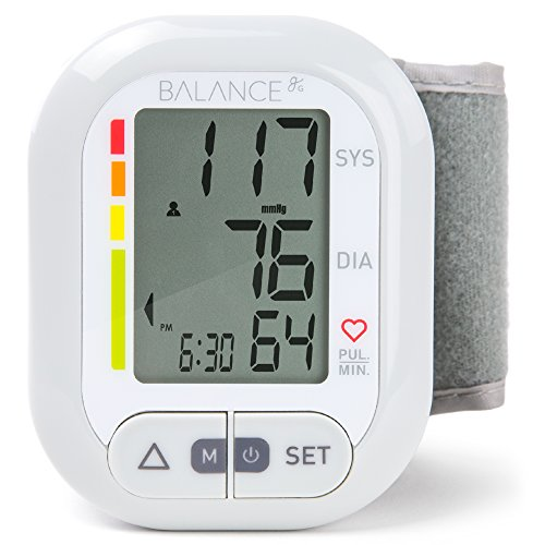 Greater Goods Wrist Blood Pressure Monitor, Model 0605, One Size Fits All 1 Monitor and Bag, White and Grey BPM