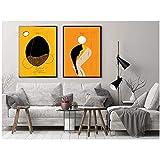 Mural Abstracto Afro Ethno Set Print, Mujeres Bailando Negras, Chica Africana, Arte de Pared de Cuerpo Femenino, Minimalista Set 2 Grabados, Figura Femenina-50X70Cmx2 Sin Marco