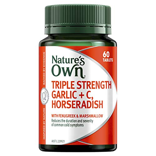 Nature's Own Triple Strength Garlic + C, Horseradish - Supports Immune System Function - Traditionally Used to Relieve Cough, 60 Tablets