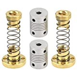 WMYCONGCONG 2 Pcs T8 Anti Backlash Spring Loaded Nut Elimination Gap Nut + 2 PCS Flexible Couplings 5mm to 8mm Stepper Motor Coupler for RepRap 3D Printer CNC Machine