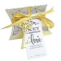 Aokbean 50個 結婚式のお土産 ギフト 枕 キャンディボックス ビンテージ スケルトン 鍵 栓抜き ホームバー ツール ユニーク クリエイティブギフト エスコート カード フレンチリボン #2k Gold+3