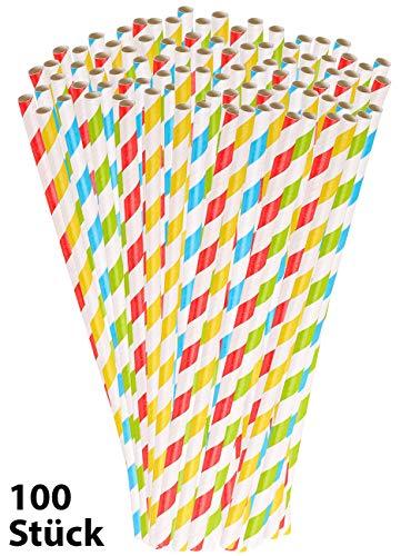 PEARL Papiertrinkhalme: 100 Retro Papier-Trinkhalme in 4 Farben, gestreift, lebensmittelecht (Papierstrohhalm)