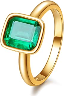 RIZILIA Solitaire Engagement Ring with Emerald Cut Gemstones CZ [Green Emerald] in 18K Yellow Gold Plated, Simple Modern Elegance