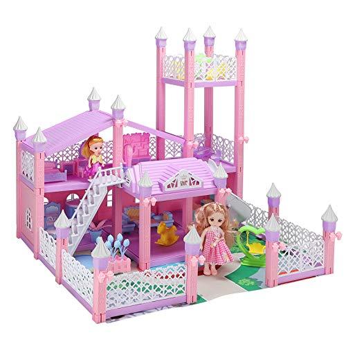 KAINSY Casa de Muñecas,224PCS Casa de Muñecas para Niñas con Accesorios y mobiliario Muñecas, 3 Pisos