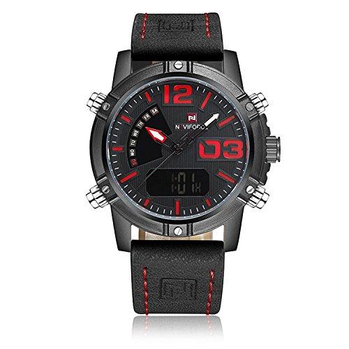 Reloj pulsera con doble pantalla digital de cuarzo Naviforce. Reloj deportivo para hombres resistente al agua, con luz trasera, correa de cuero, cronómetro + caja.
