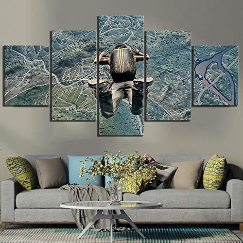 Nobrand 5 canvas afdrukken Hd Home Decor Canvas schilderij schilderijen 5 panelen Pubg Spring uit het vliegtuig, Muurkunst bedrukt Poster voor jongens kamer