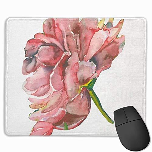 Muiskussen, bureaumuis, muismat groen mooie aquarel pioenroos bloesem hand schilderij roze schoonheid bloeiende tak