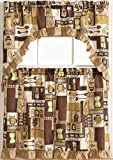 Golden Rugs 3pc Kitchen Curtain and Valance Set/1 Swag Valance and 2 Tiers,2 Tiers Width 30'x 36' Each and The Valance Length 60'x36' (Coffee)