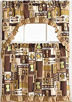 GLORY RUGS 3pc Kitchen Curtain Valance Set 1 Swag Valance and 2 Tiers 2 Tiers Width 30 x 36  Each and The Valance Length 60 x36   Coffee