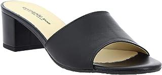Leonardo Shoes Sandali Tacco Basso da Donna Fatti a Mano Pelle di Vitello Nera - Codice Modello: C 558 Nappa Nero