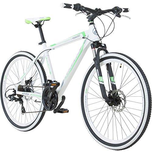 Galano 26 Zoll Toxic Mountainbike Hardtail MTB Jugendmountainbike Jugendfahrrad (Weiss/grün, 46 cm)