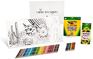 Crayola Color Escapes Coloring Pages & Pencil Kit, National Parks Edition, 12 Premium Pages, 12 Watercolor Pencils, 50 Colored Pencils, Adult Coloring, Art Activity Set