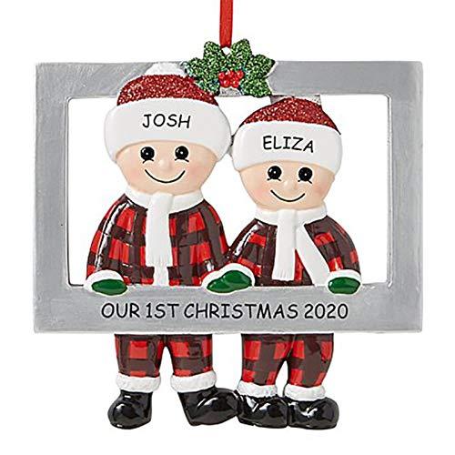 N/H Adorno Colgante de Navidad, Marco de Fotos de Familia de PVC, Regalo de decoración Colgante de árbol de Navidad para Fiesta de Oficina en casa