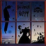 Tuopuda Halloween Decorazioni Halloween Adesivi per Finestre Vetrine Gatto Pipistrello Fantasma Vetrofanie Elettricità Statica Sticker Accessori Halloween per Halloween Party Festival Fantasma