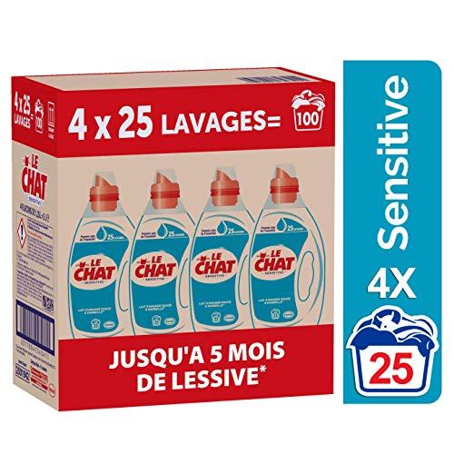 Le Chat Sensitive - Lessive Liquide Hypoallergénique - Marseille & Lait d'Amande Douce  - 100 Lavages (4 x 1.25L)