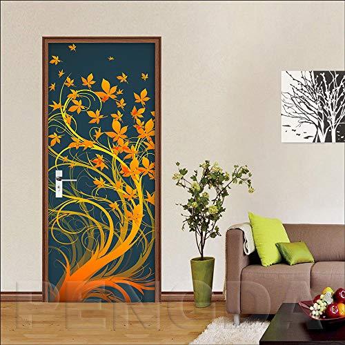 3D Deurfolie Deurfolie 3D Stap Deur Sticker Decals Muurschildering Diy Zelfklevend Waterdicht BehangBladeren Poster Woondecoratie Renovatie-As_Shown_95X215Cm