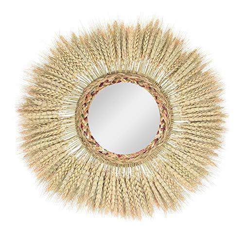 kelihood Espejo de Oreja de Trigo Espejo Colgante de Pared Hecho a Mano Bohemio Retro Estilo marroquí Halo Bambú y ratán Sunburst Mirror Espejo de Maquillaje Decoración de Espejo
