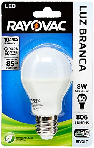 Lâmpada LED Rayovac Bulbo Lúmens Bivolt IRC 80 (1 Unidade), Spectrum, LED806B-BRA, 8, Luz Branca 6500K, A55