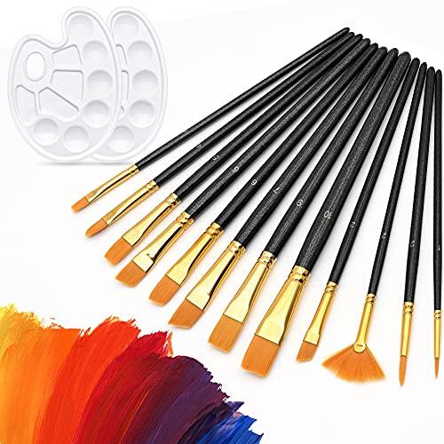 Pinceles Pintura Niños Set Cepillo Pintura Pinceles Artista 12 Pinceles+2 Paleta Artistas Pintura Juego de Pinceles Set Pinceles Pintura para Acuarela, Acrílico