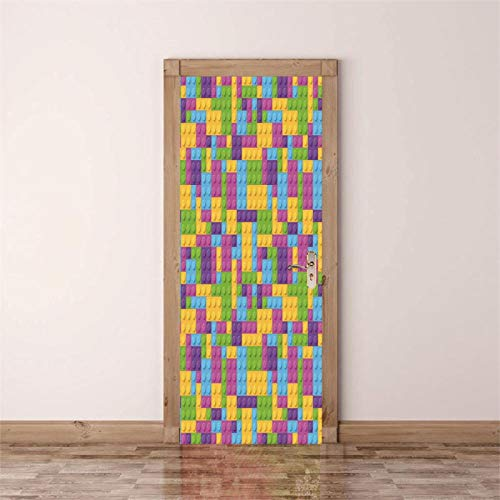 Fantxzcy Adhesivos para Puertas Interiores Mosaico Colorido Cuadrado Abstracto 88x200cm Etiqueta engomada de la Puerta 3D Mural de Vinilo Pasillo Autoadhesivo Papel Tapiz extraíble Calcomanía Puertas