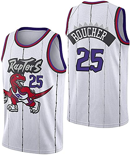 Jerseys Raptors 25# - Camiseta de Baloncesto para Hombre, 2021 New Season Boucher, edición de Ciudad Blanca, Secado rápido, Ropa sin Mangas para Entrenamiento de Baloncesto(Size:/M,Color:G1)