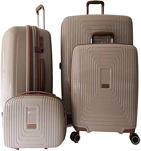 4 estuches de cosméticos de polipropileno duro maleta de cabina maleta mediana maleta grande de 35cm,Taupe