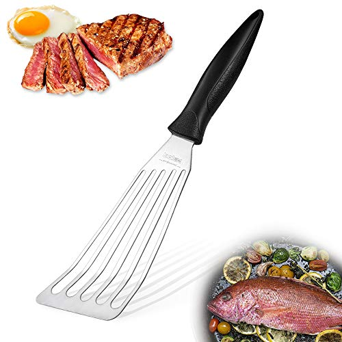 BOLEXINO Fish Spatula, Stainless Steel Slotted Flexible Turner, Cooking Spatula With ergonomic handle, Kitchen Metal Spatula for Food Turning, Flipping, Frying and Grilling, Perfect for Busy Kitchen
